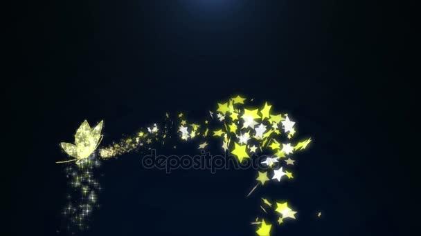 Animáció szikrázó arany ékszerek pillangó rovar csillogó repülő csillag minta a reklám promóciós vagy szezonális üdülési ünnepe, vagy bemutató cím koncepció 4k
