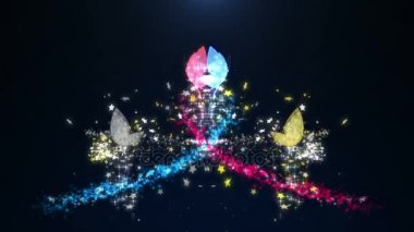 Seamless animation colorful sparkle jewelry butterfly insect flying with glittering stars pattern in advertisement promotion or seasonal holiday celebration or presentation title concept in 4k