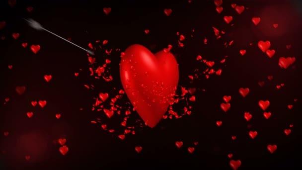 3D animace obří romantické červené srdce dostat zastřelen mnoha cupid šipky a propukl v malé červené srdce s poslední ránu. Vzorek pozadí abstraktní srdce ve flirtování, láska a valentine koncept 4k