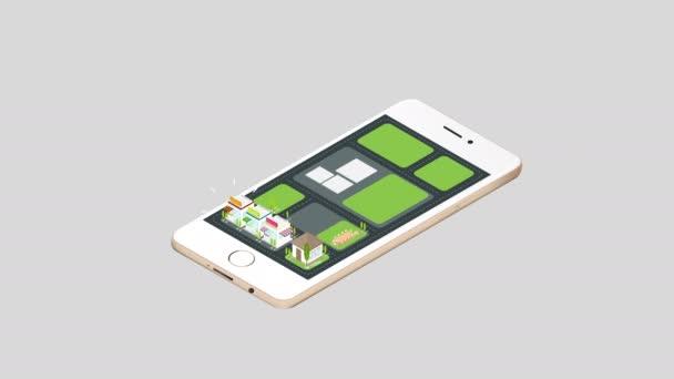 Dům realit animace a komerční budovy a panoráma architektura vykoukali na chytrý telefon mobilní obrazovku s konceptem aplikace sítě v 3d izometrický izolované pozadí 4k