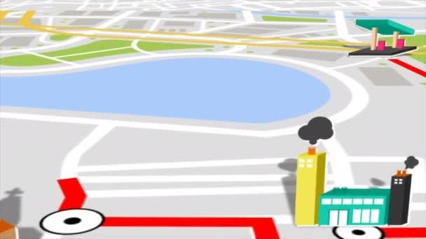 nahtlose Animation des GPS-Satelliten-Stadtplans und der Lage des Wahrzeichens mit 3D-Gebäuden und Immobilien. Motion Graphic Map Anwendung und Navigationstechnologie in Computersoftware-Konzept 4k.