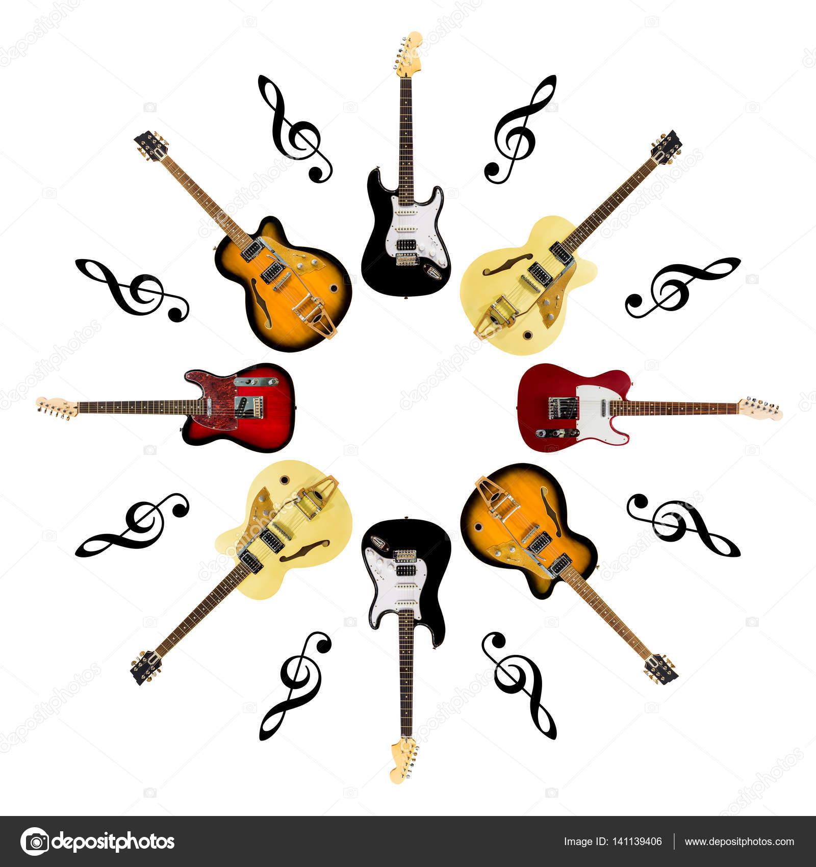 Guitarras Eléctricas Con Clave De Sol Aislado Sobre Fondo Blanco