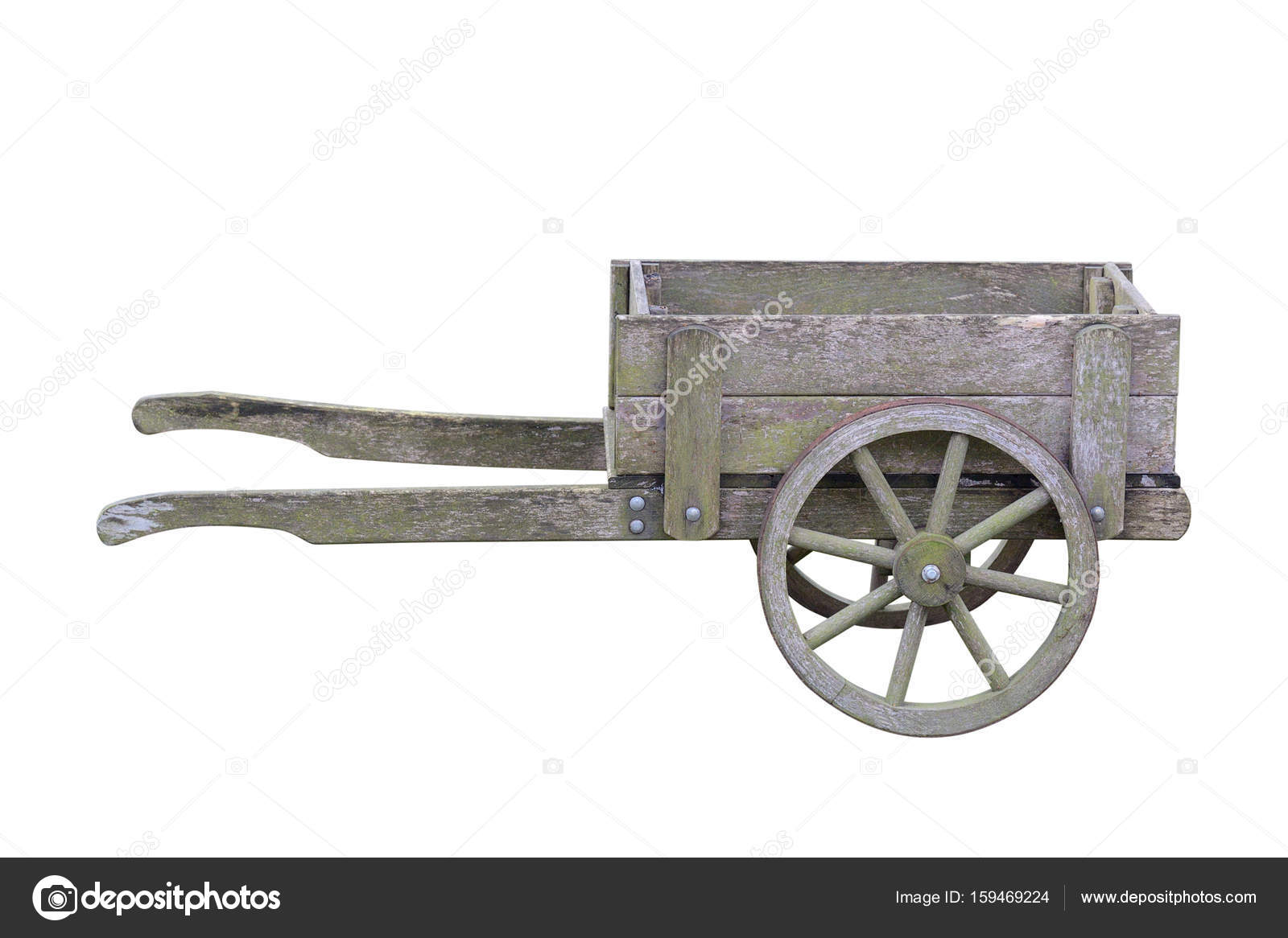 Antique Wooden Garden Trolley Isolated On White Background U2014 Stock Photo