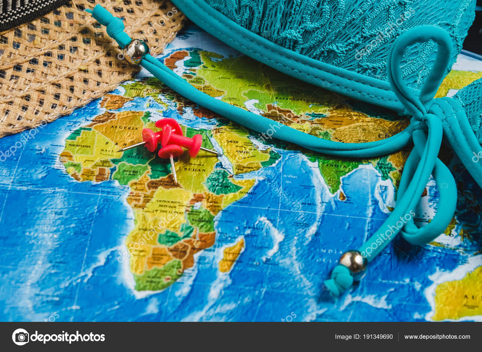 Travel destination points on world map indicated with colorful travel destination points on world map indicated with colorful thumbtacks red ribbon and shallow depth gumiabroncs Images
