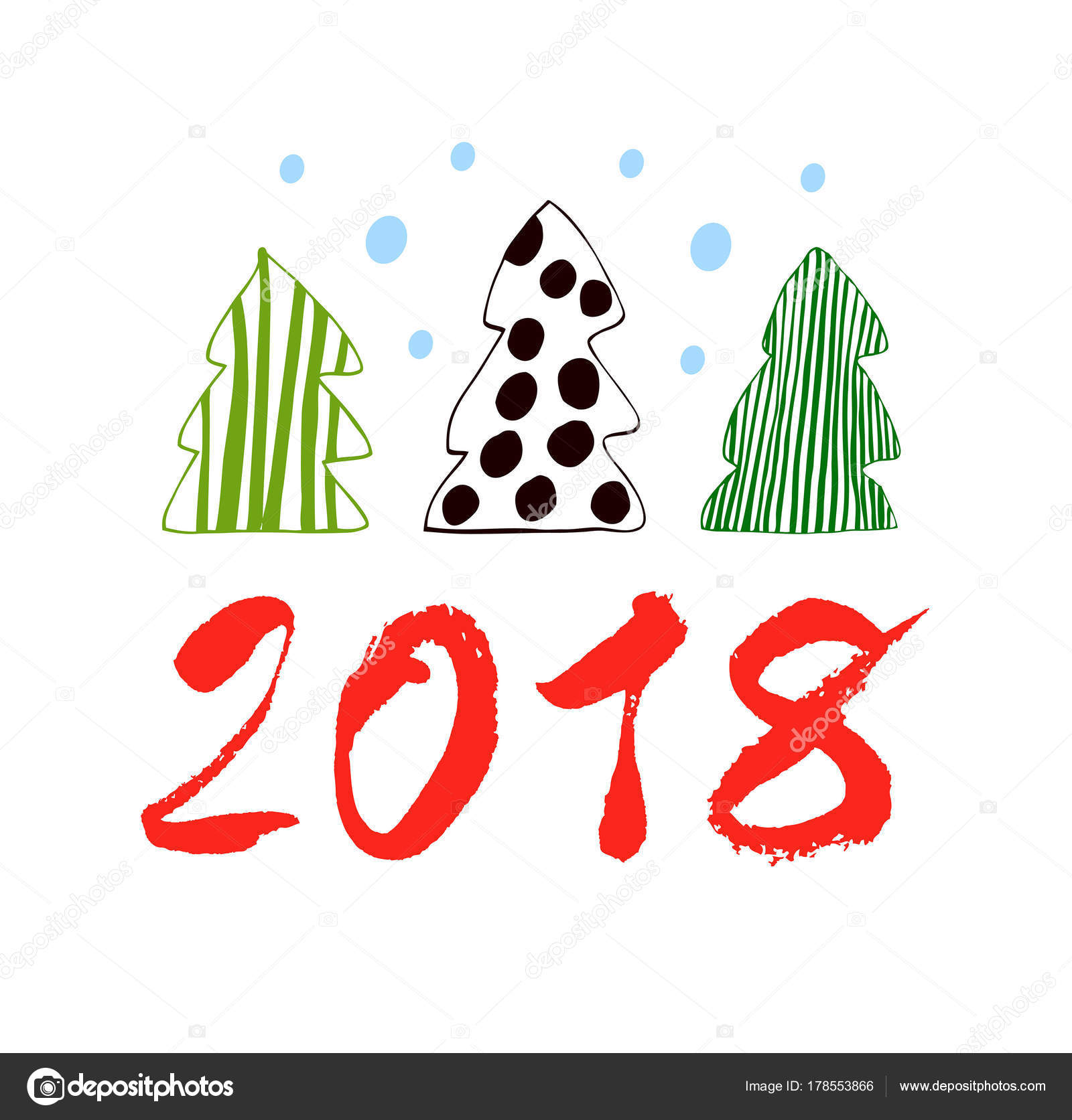 2018 happy new year vector drawn banner xmas card spruces stock vector