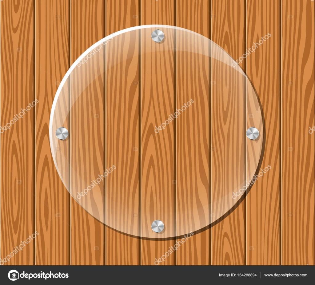 marco acrílico redondo sobre fondo de madera — Vector de stock ...