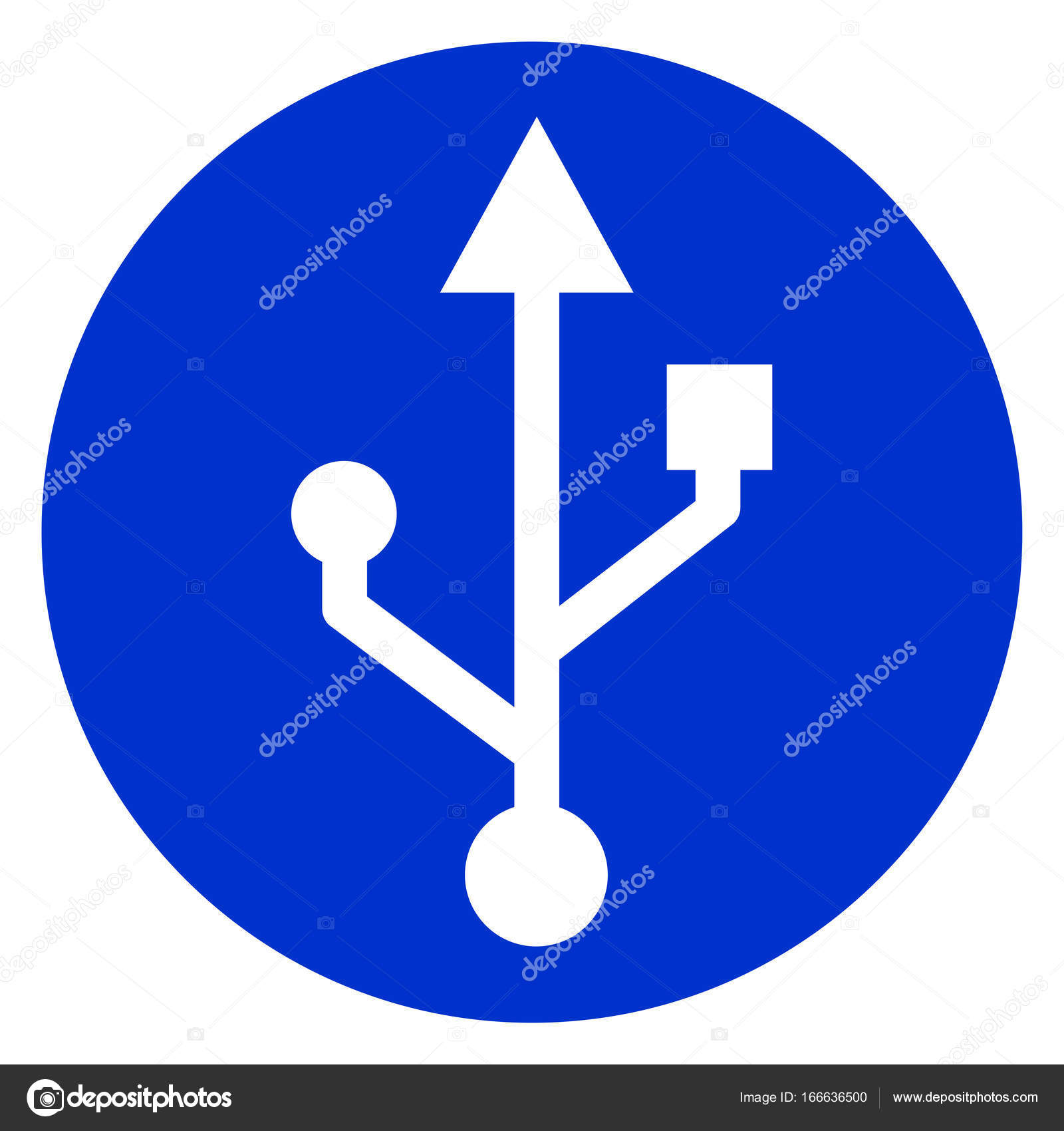 usb symbol blue circle icon � stock vector 169 nickylarson