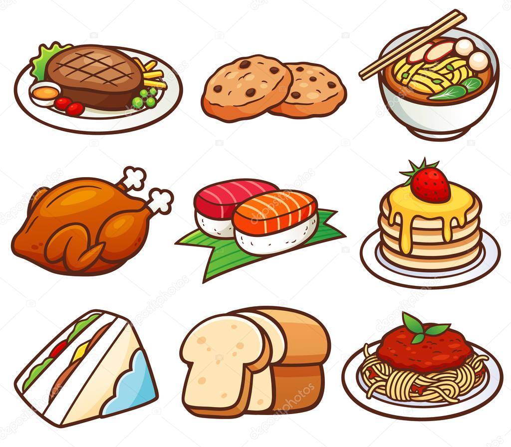 Dessin animé aliments ensemble — Image vectorielle ...