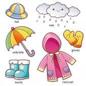 Kreslený déšť oblečení