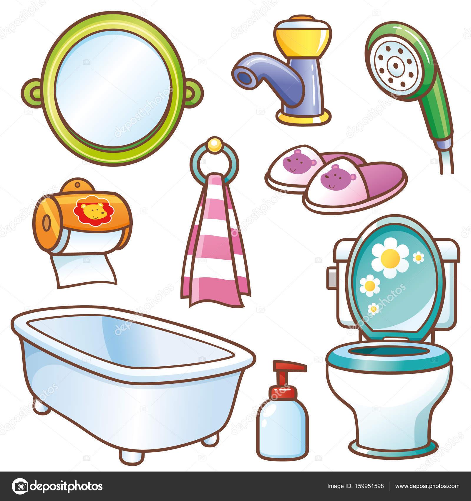 Rajzfilm fürdőszoba kiegészítők — Stock Vektor © sararoom #159951598