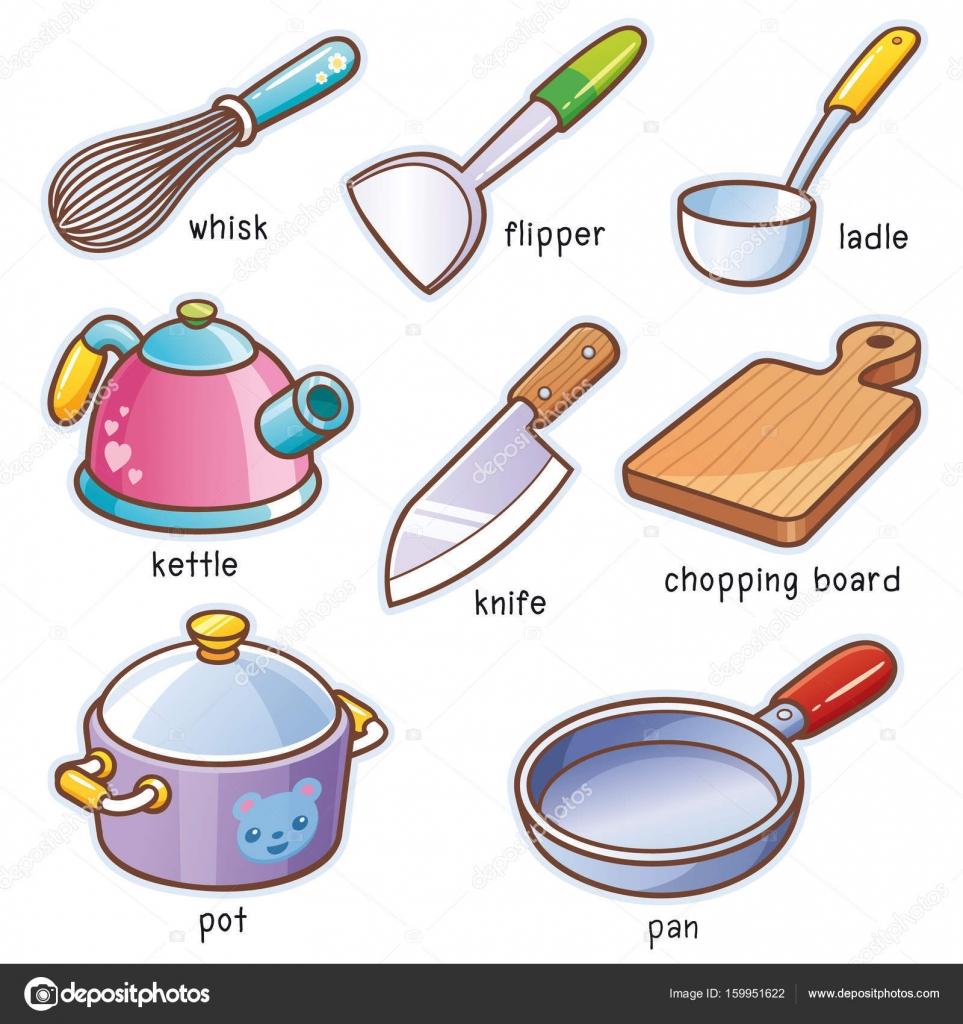 Cartoon kitchen tools stock vector sararoom 159951622 - Lista utensili da cucina ...