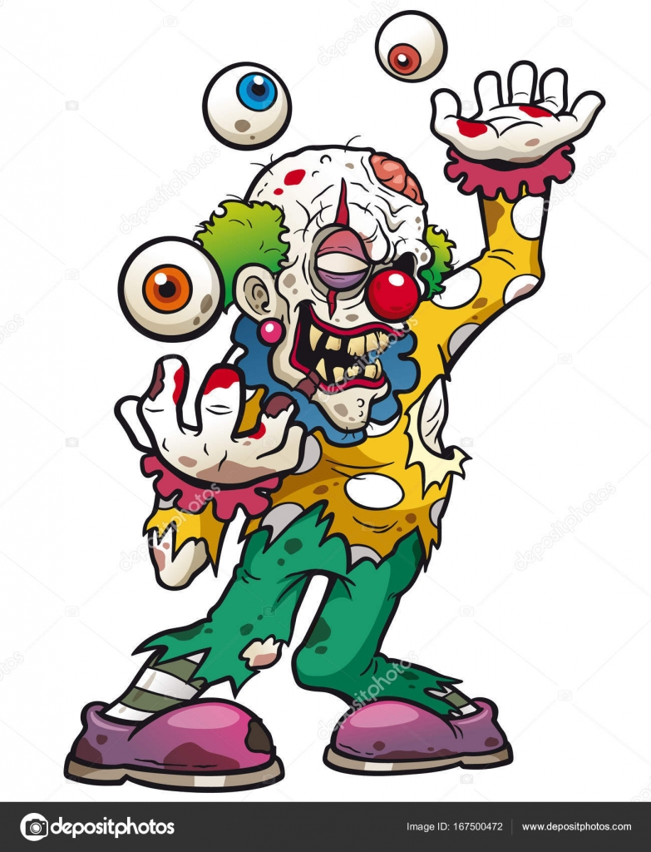 Cartoon Zombie Tattoo Cartoon Zombie Clown Stock Vector
