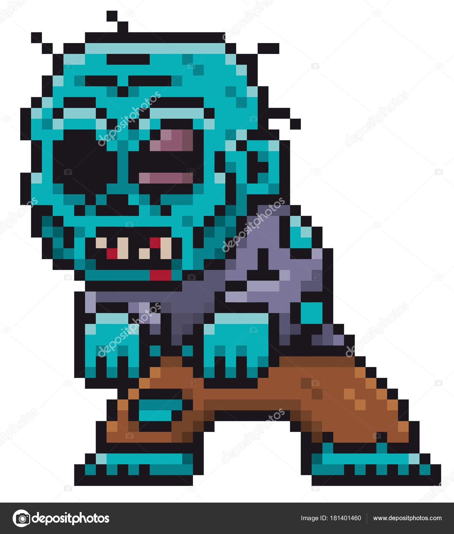 Illustration Vecteur Dessin Animé Zombie Conception Pixel