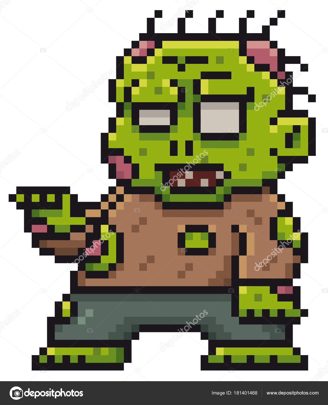 Vektorové Ilustrace Kreslený Zombie Pixel Design