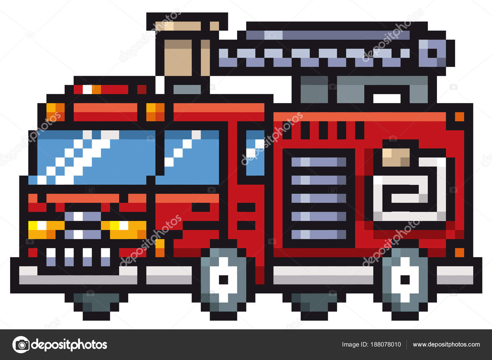 Illustration Vectorielle Camion Pompier Dessin Animé