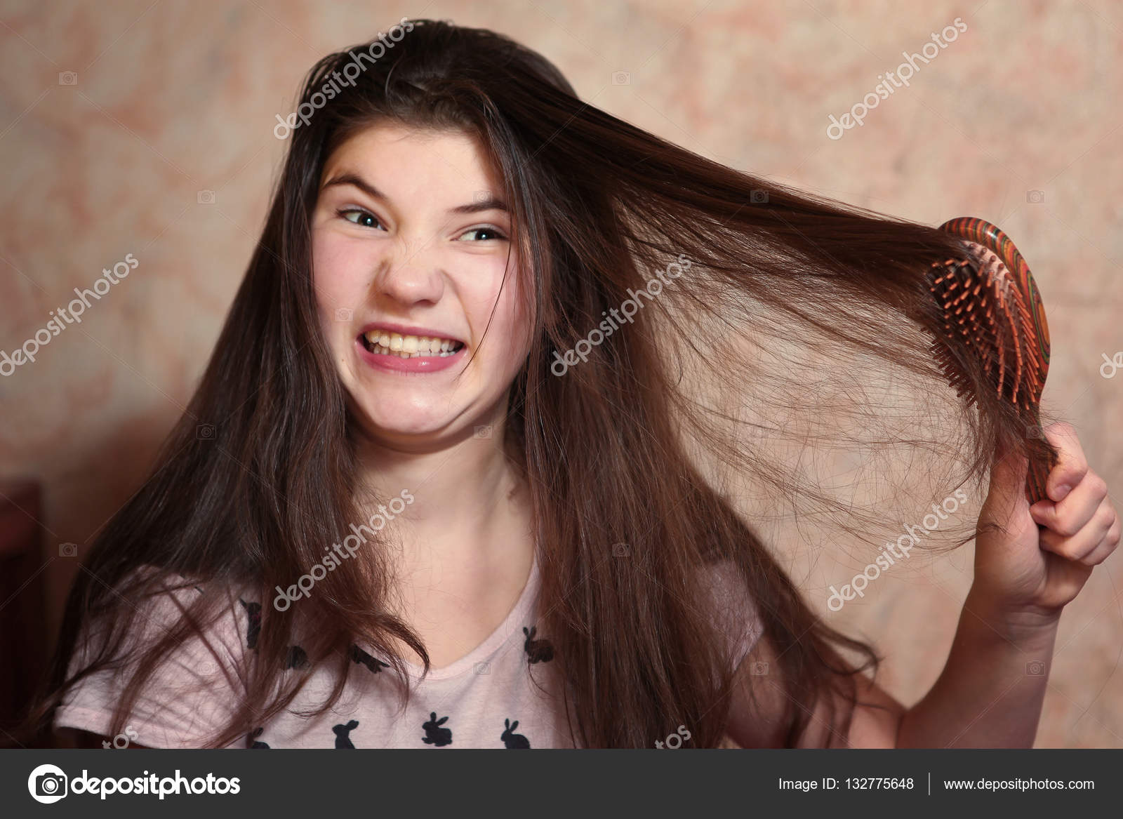 Beautiful Teen Girl Try Comb Her Long Dark Thick Hair Photo By Ulianna
