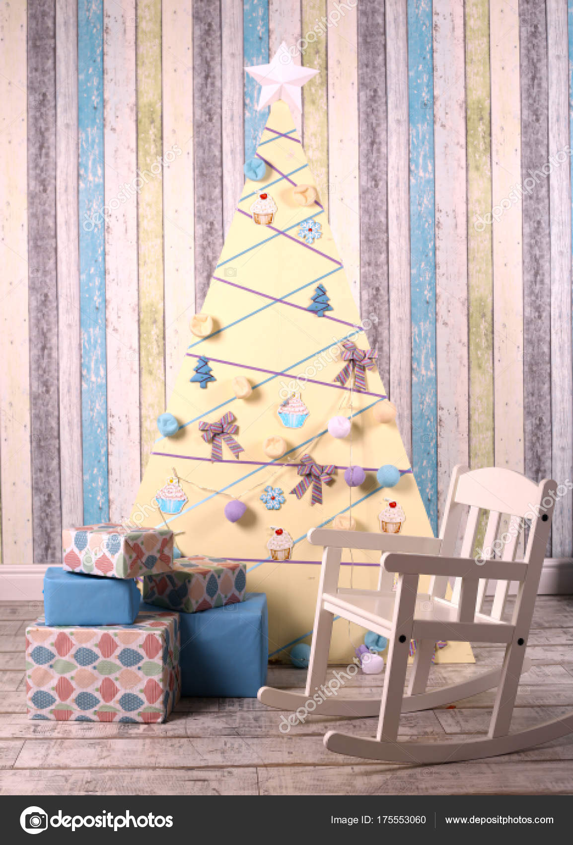 Excellent Christmas Decoration Interior With Tree Presents And Baby Machost Co Dining Chair Design Ideas Machostcouk