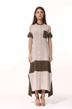 indian model young woman in long summer linen dress