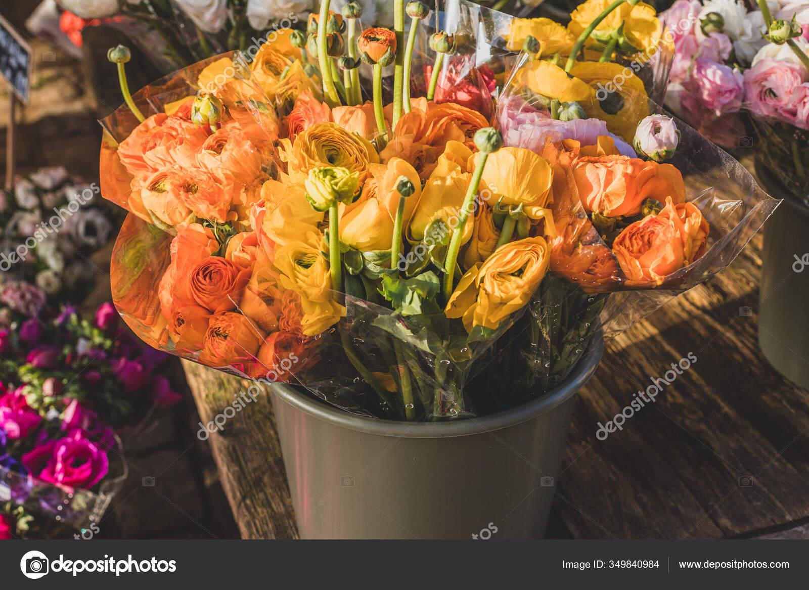 Bouquets Orange Ranunculus Flower Street Market Stock Photo C Ursaminorph 349840984