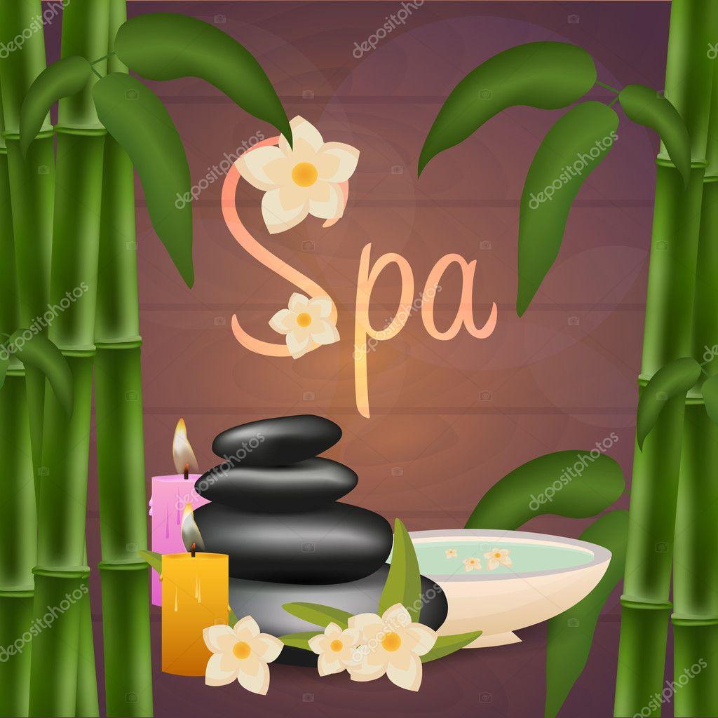 Spa-Salon-Banner mit Steinen und Bambus. Thai-Massage. Holzstruktur ...