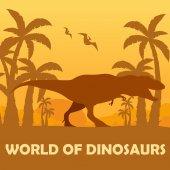 Fotografie Banner World of dinosaurs. Prehistoric world. T-rex. Cretaceous period.