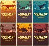 Fotografia Collezione di manifesti mondo dei dinosauri. Mondo preistorico. T-rex, Diplodocus, Velociraptor, Parasaurolophus, Stegosaurus, triceratopo. Periodo Cretaceo. Periodo Giurassico