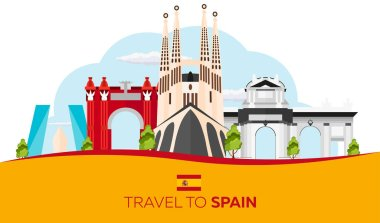 Travel to Spain skyline. Sagrada Familia. Vector flat illustration.