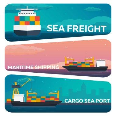 Set of Sea transportation logistic. Sea Freight. Maritime shipping. Merchant Marine. Cargo ship. Vector flat illustration.