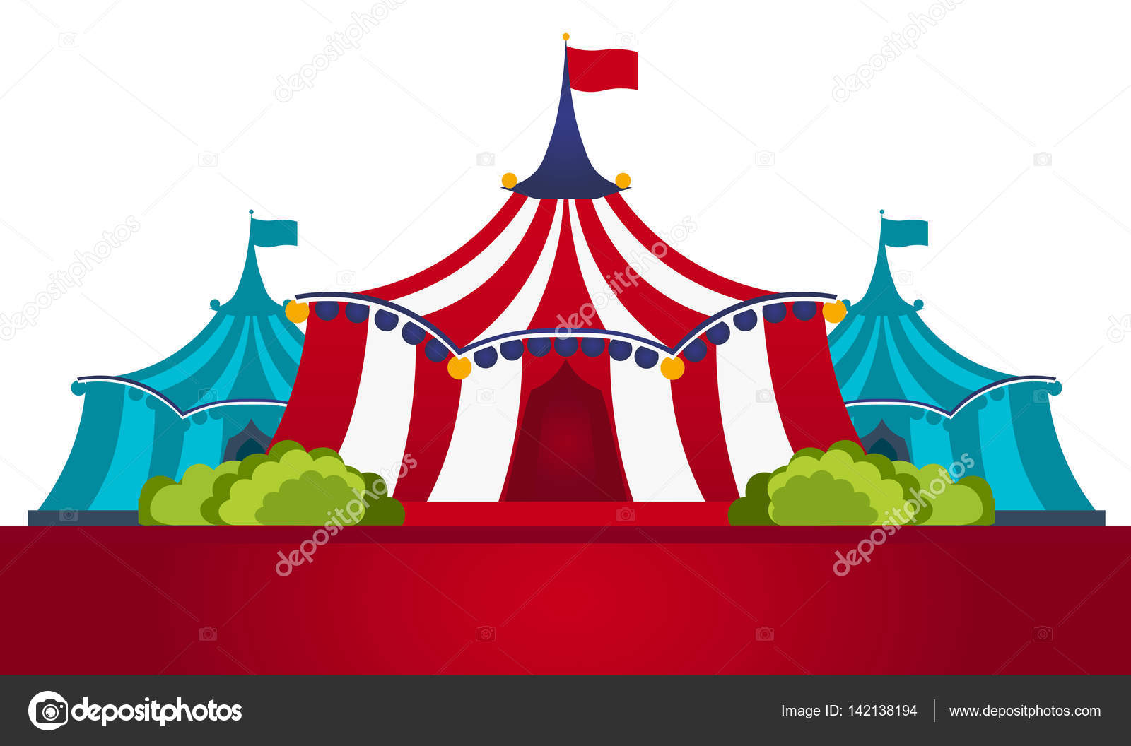 Circus Tents With Banner. Amazing show. Flat illustration u2014 Vector by leo_design  sc 1 st  Depositphotos & Circus Tents With Banner. Amazing show. Flat illustration. u2014 Stock ...