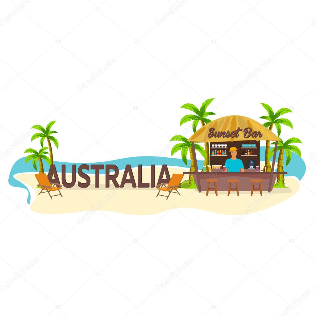 Australia. Travel. Palm, drink, summer, lounge chair, tropical.