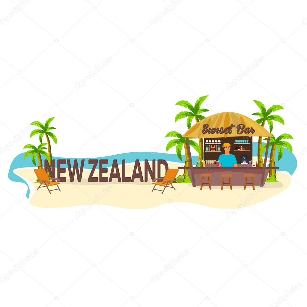New Zealand. Travel. Palm, drink, summer, lounge chair, tropical.