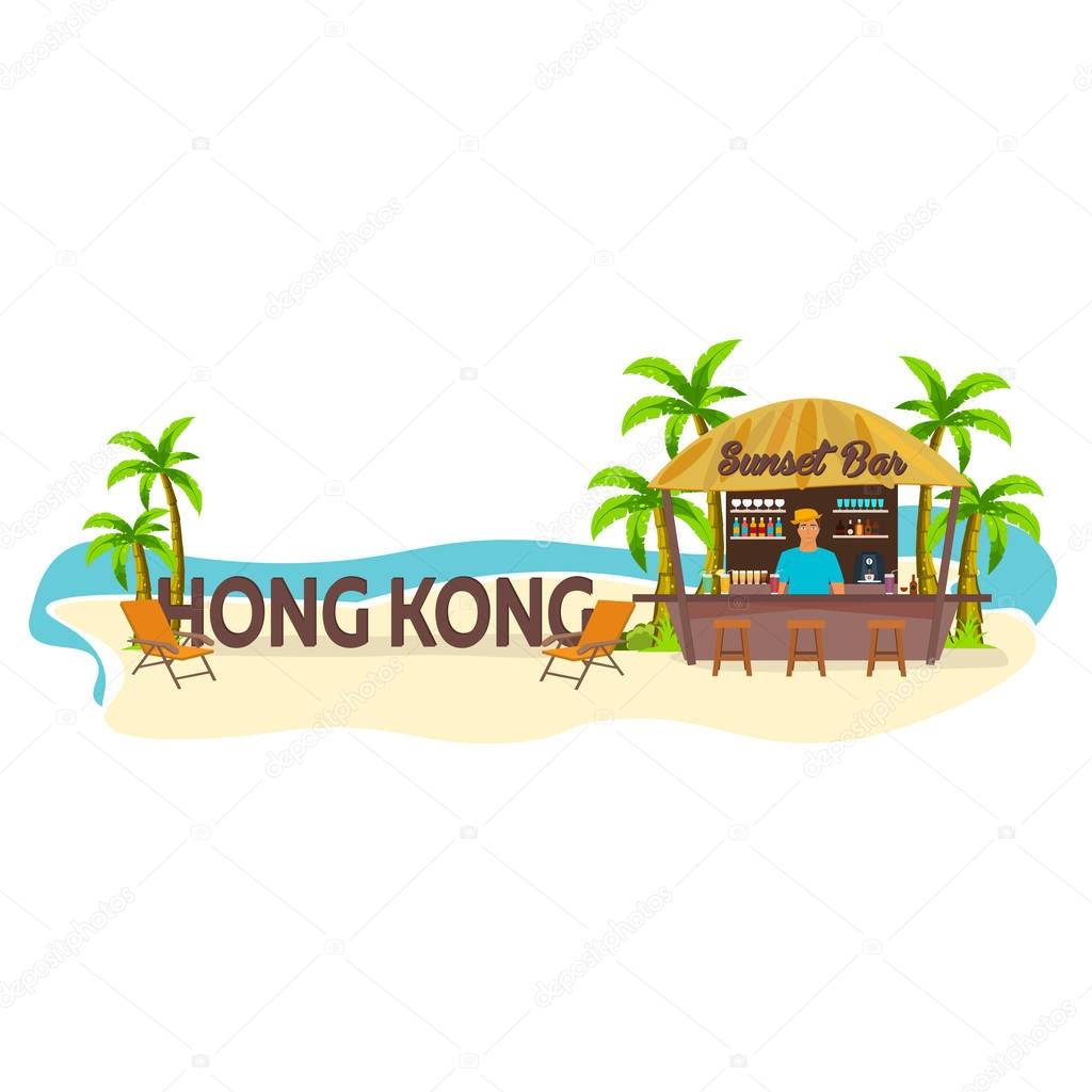 Hong Kong. Travel. Palm, drink, summer, lounge chair, tropical.