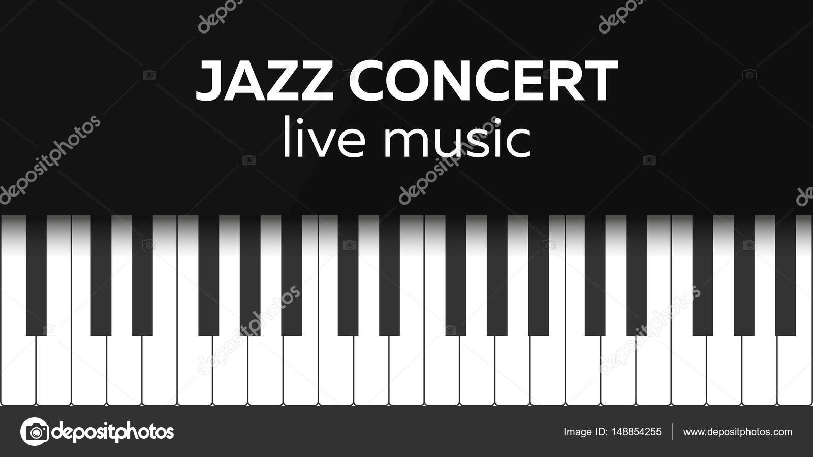 Jazz Concert Poster Design Live Music Piano Keys Vector Illustration By Leo