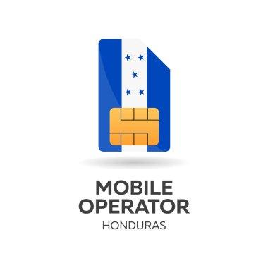 Honduras mobile operator. SIM card with flag. Vector illustration.