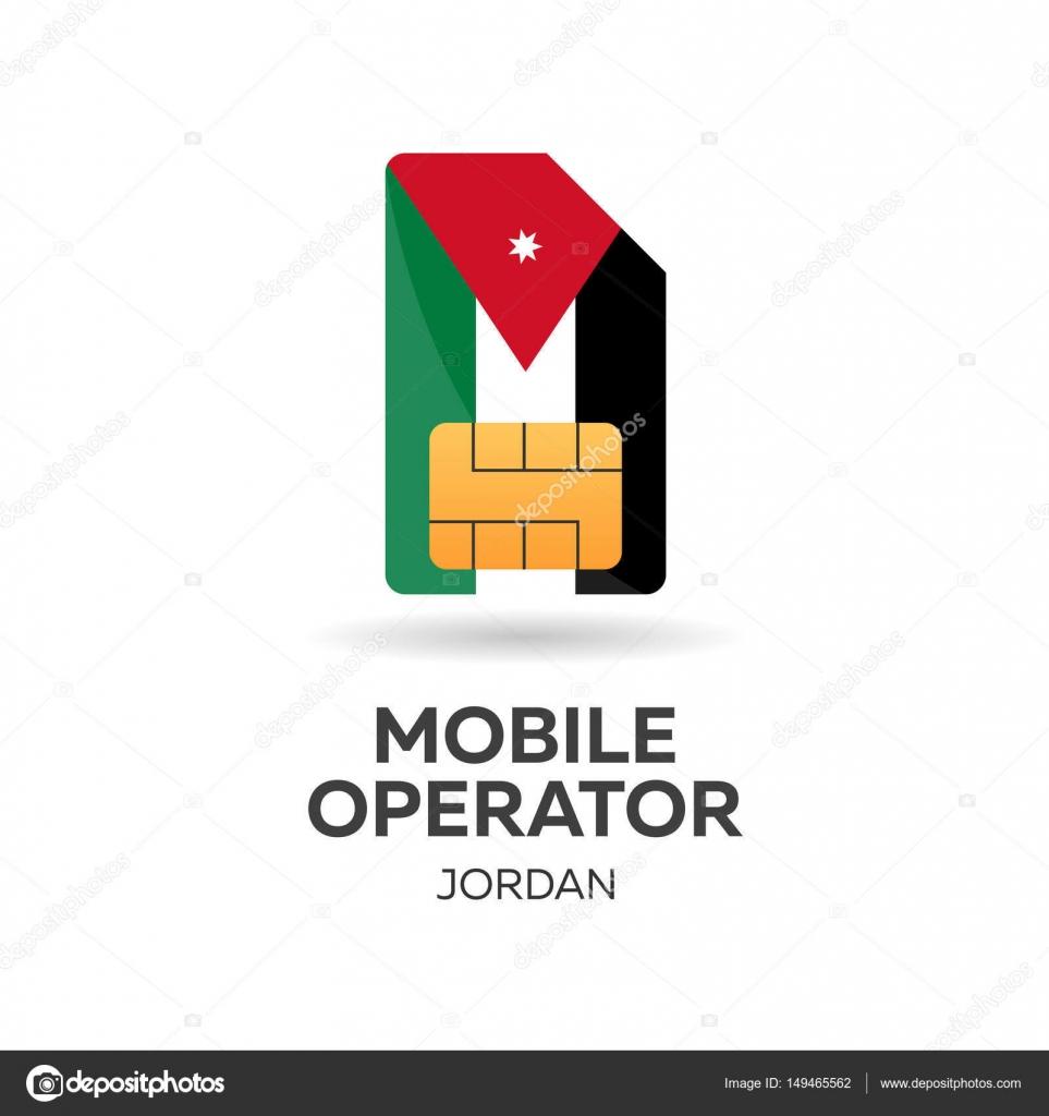 Jordan Mobile Operator Sim Card With Flag Vector Illustration