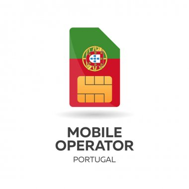 Portugal mobile operator. SIM card with flag. Vector illustration.
