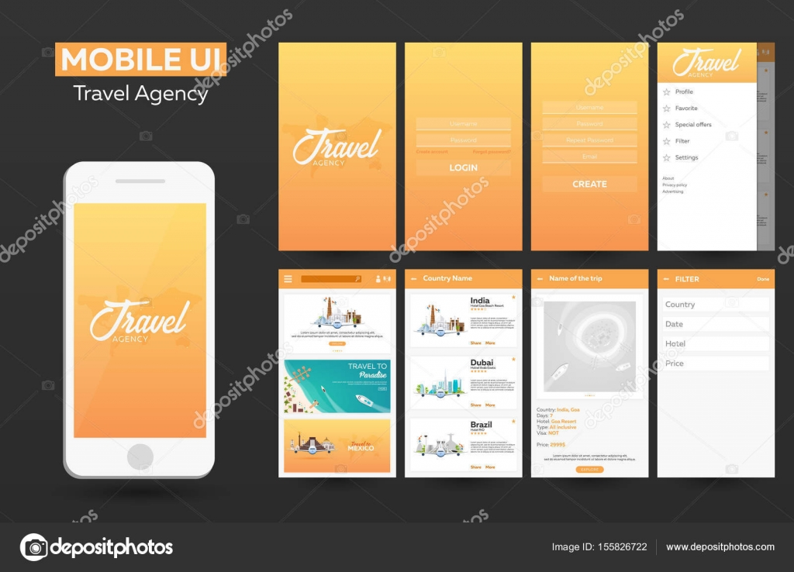 Mobile app Travel agency Material Design UI, UX, GUI