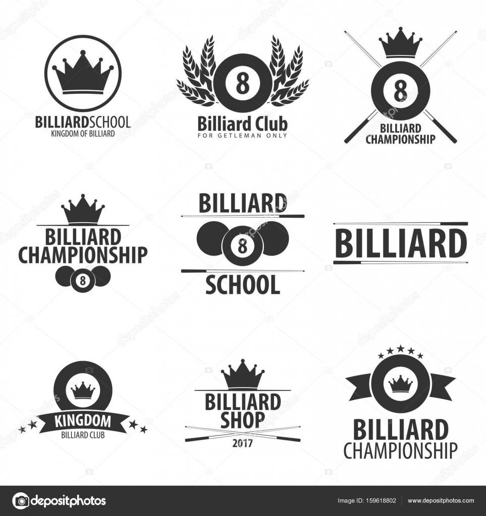 Conjunto de logotipos escuela, club o tienda de billar. Ilustración ...