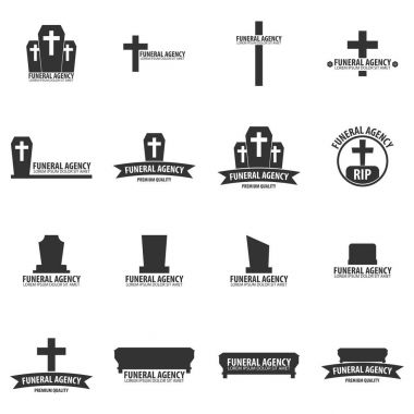Set of Funeral home undertaking ceremonial service. Funeral agency. Vector logos and emblems.
