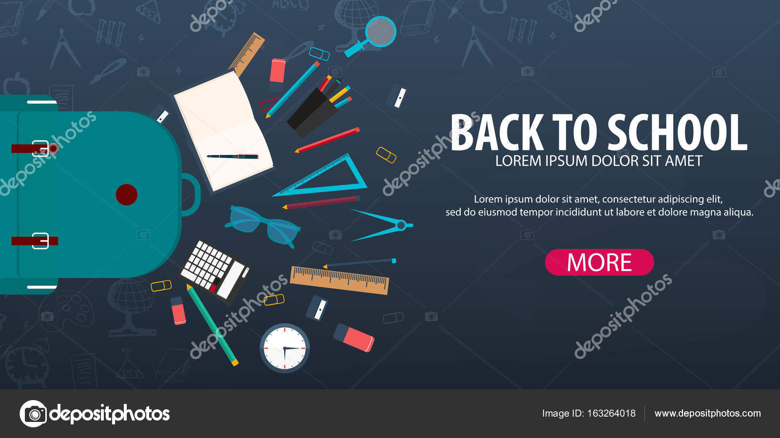 Back To School Background Education Banner Vector Illustration Stock Vector C Leo Design 163264018