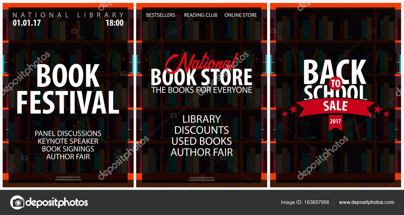 Conjunto de carteles de la tienda libro nacional, Festival ...