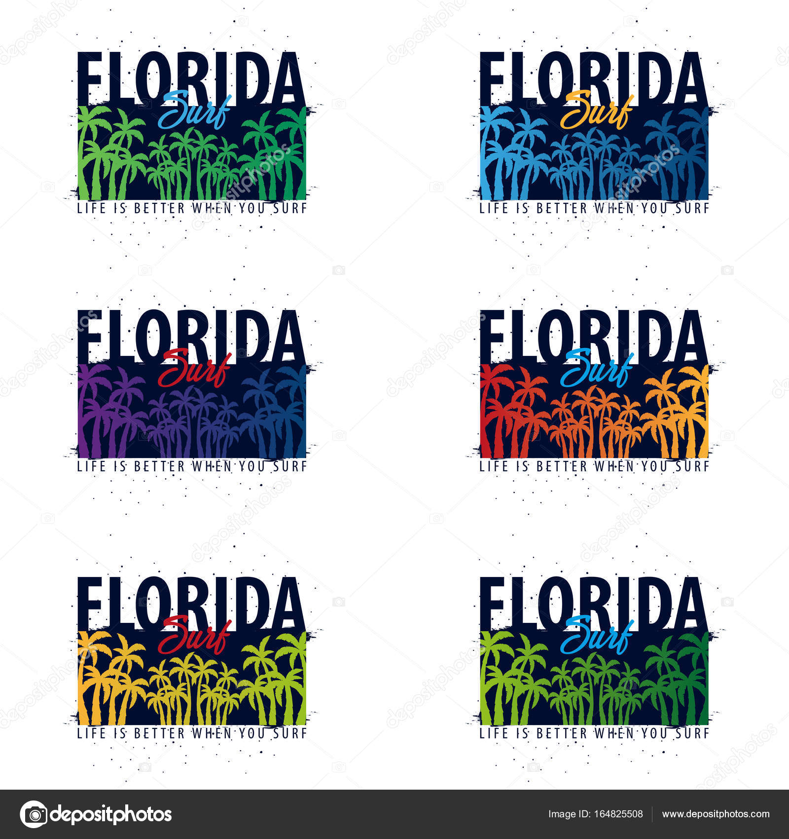 Florida Surfing Graphic With Palms T Shirt Design And Print