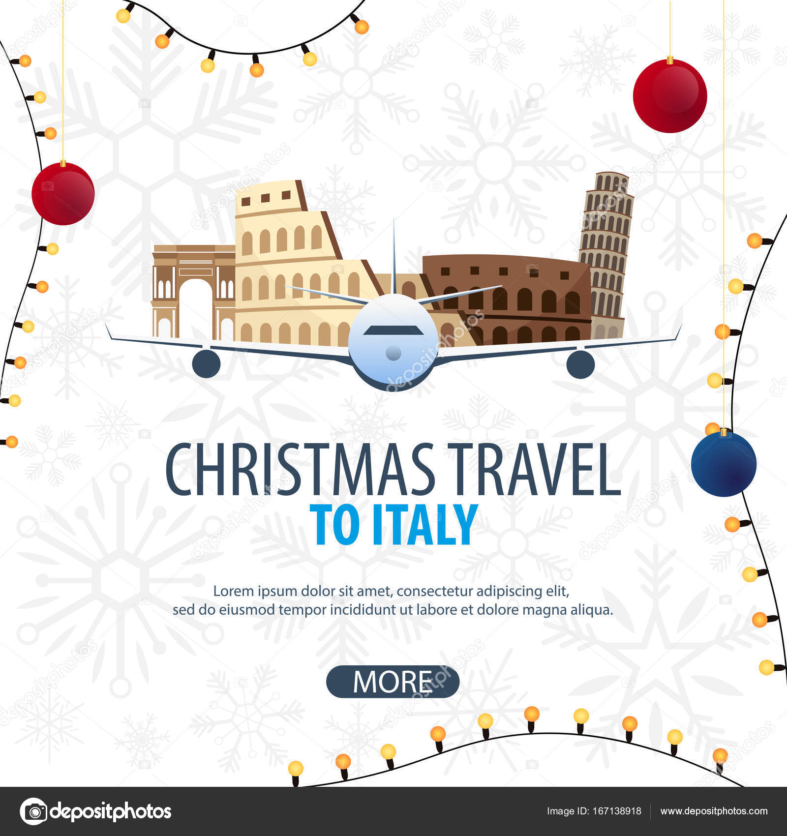 Christmas Travel to Italy, Rome. Winter travel. Vector illustration ...