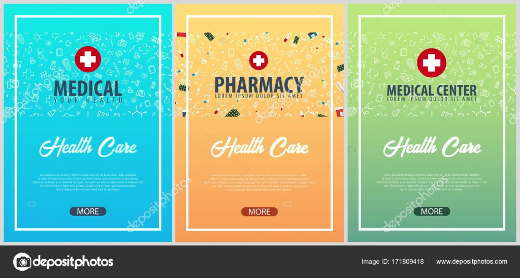 Set of medical posters medical background health care vector set of medical posters medical background health care vector medicine illustration vector by leodesign stopboris Choice Image