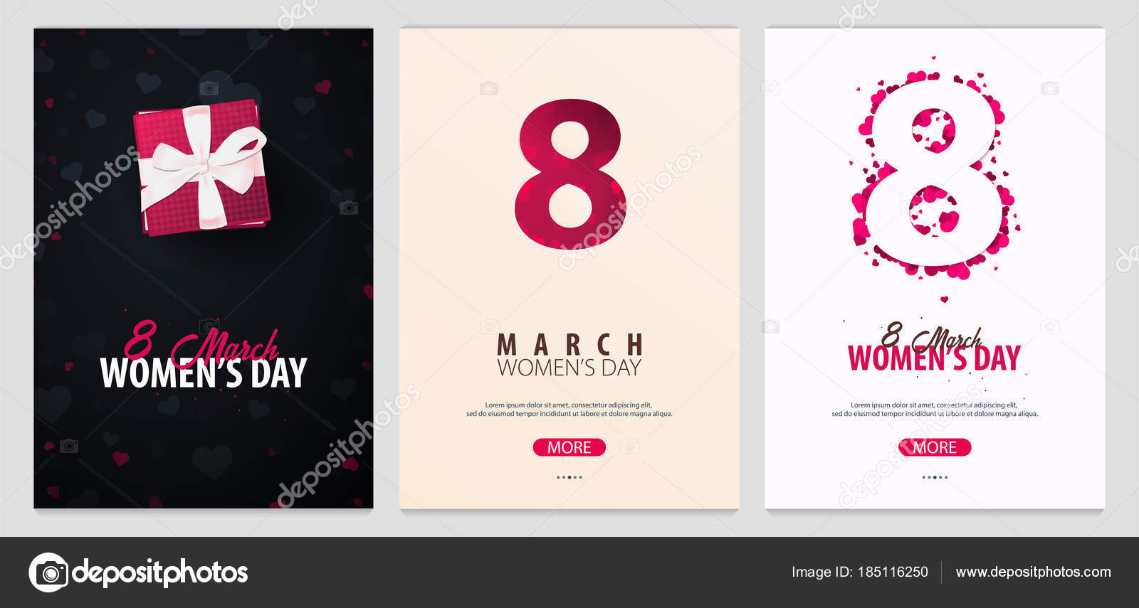 8 March International Womens Day Set Of Greeting Cards With Heards