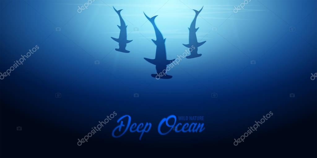 Underwater background with sun rays and silhouette of fish hammer. Deep Ocean banner. Color vector illustration.