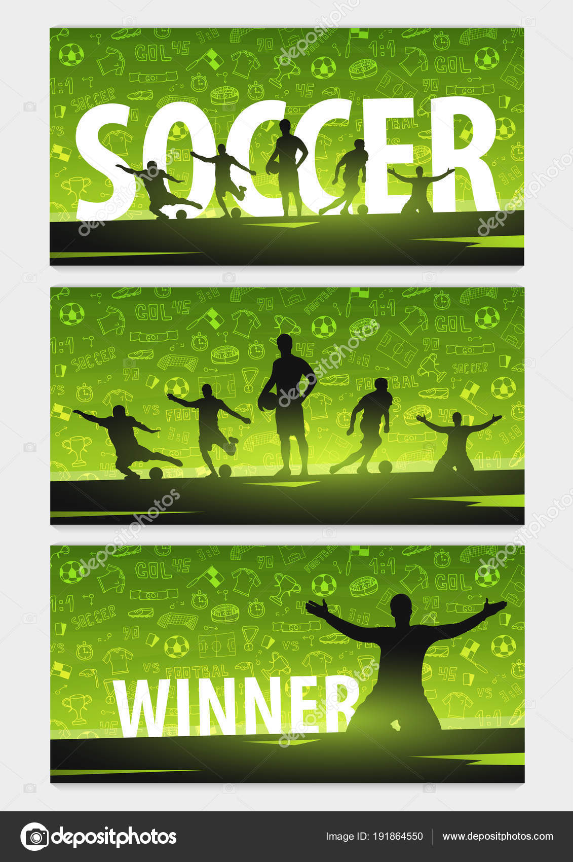 Set Of Football Or Soccer Design Banners With Hand Draw Doodle