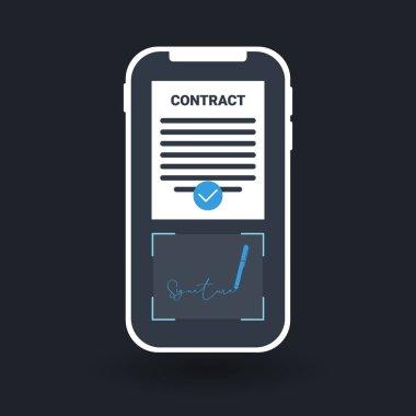 Digital Signature Technology. Sign Up. Vector Illustration.
