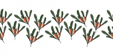 Watercolor border with berries, twigs and leaves of sea buckthorn