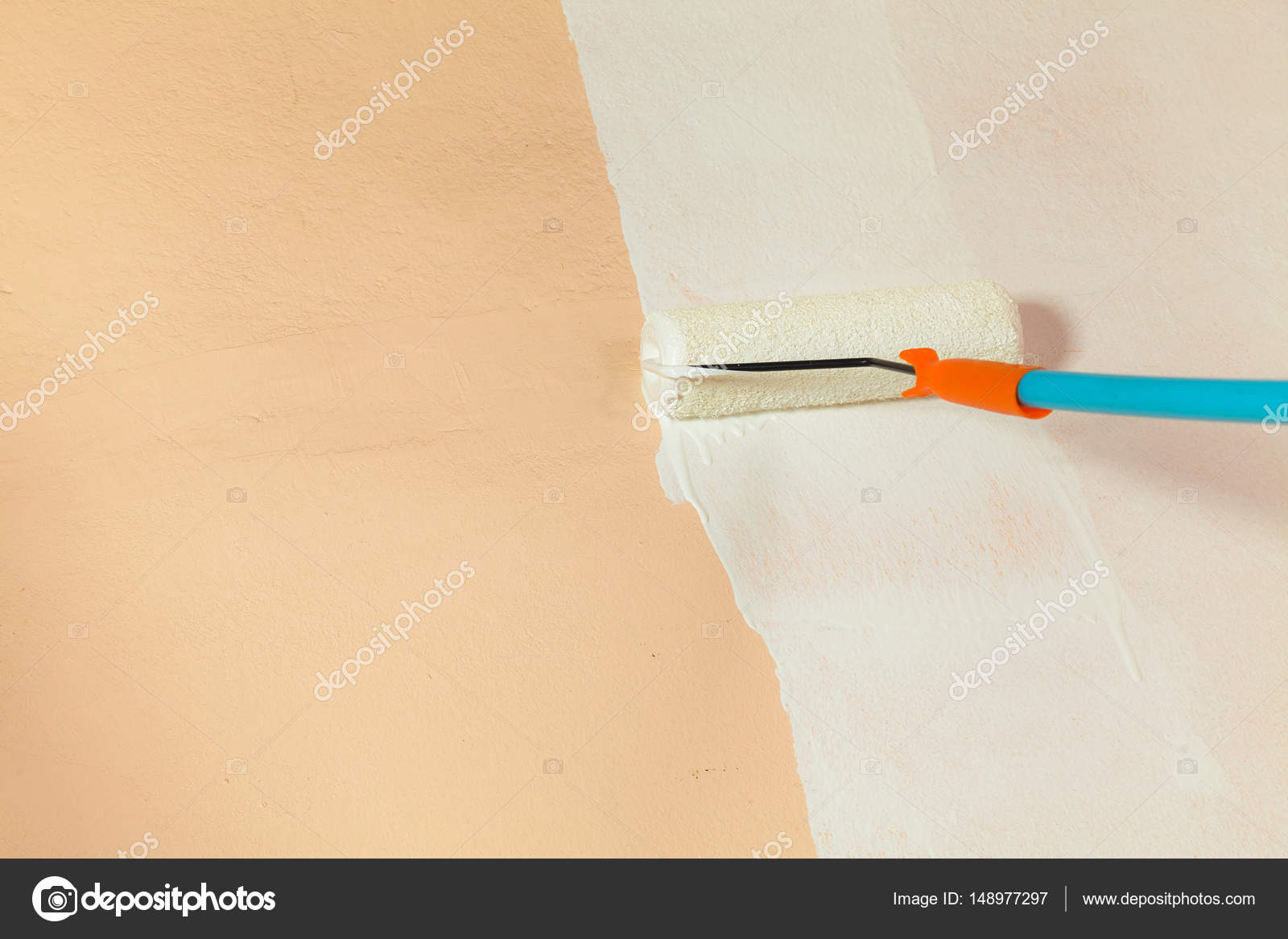 Painter painting the walls white in house — Stock Photo © Naypong ...